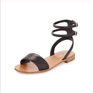 048f8e3e94d Prada Sz 38 Black Double Ankle Strap Sandals